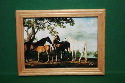 """""""Pferde mit Fohlen"""", Holzrahmen lackiert"""