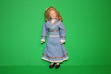 "Porzellan-Biegepuppe ""Frau"", blond, Kleid hellblau"