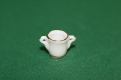 Vase weiß, mit Goldrand, 2 Griffe, Porzellan, 4 Stück