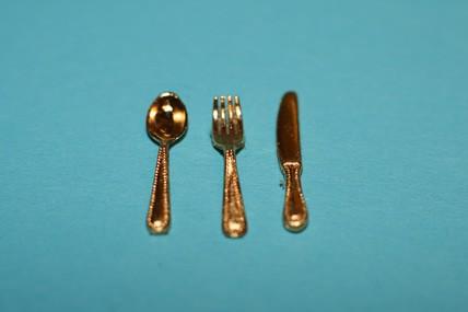 """Besteck """"gold"""" - 3-teilig, 1:12"""