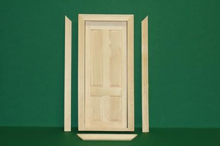 Innentüre mit Innenrahmen, Holz roh, 1:12