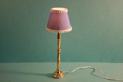 Stehlampe, Stoffschirm blau, 1:12