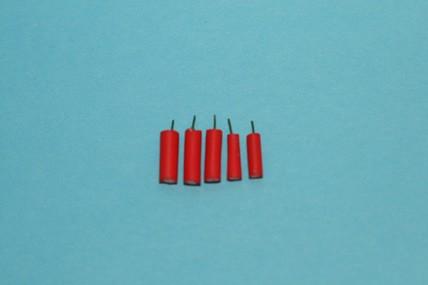 Kerzen rot - 5 Stück, 1:12