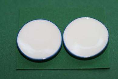 Teller weiß, mit blauem Rand, Porzellan - 4 Stück
