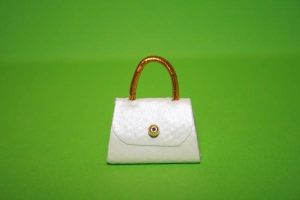 Handtasche weiß, Kunstleder