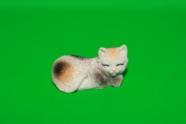 Miniatur Katze schwarz/weiß/orange 1:12