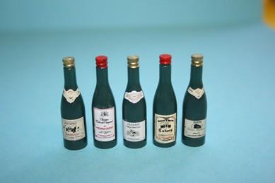 Französische Weinflaschen - 5 Stück