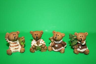 Weihnachtsbären, Kunstharz - 4er Set