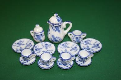 Kaffee-Service, Porzellan, weiß/blau, 17-teilig, 4 Pers., 1:12