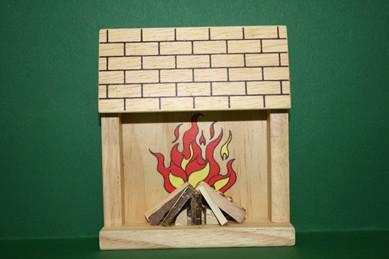 Kamin hell, Holz