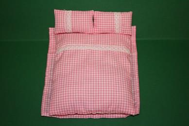 Deckbett, Laken und 2 Kissen, rosa/weiß kariert