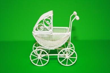 Kinderwagen weiß, Dach beweglich, Metall