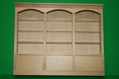 3-Fach Regal, mit verstellbaren Plexiglas-Böden, Holz roh