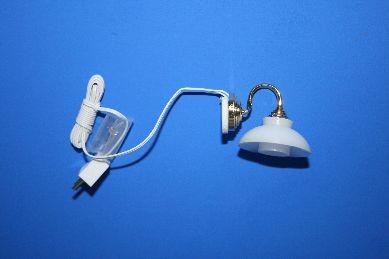 Wandlampe, Schirm weiß, 12 V.