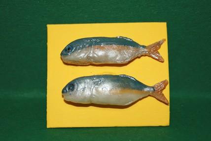 Fisch blau/gelb/silber - 2 Stück