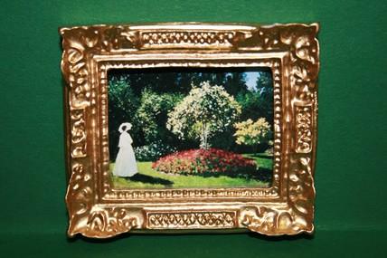 """""""Frau im Garten"""", Goldrahmen"""