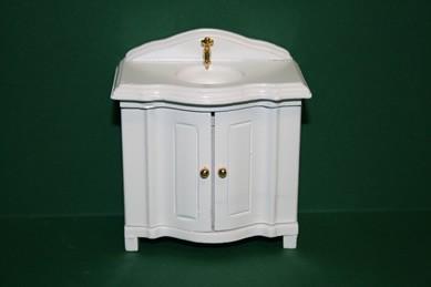Schränkchen mit Waschbecken, weiß lackiert, 1:12