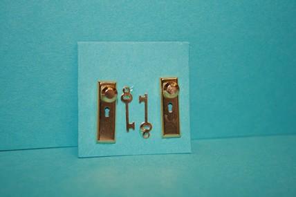 Türbeschlag mit Schlüsseln - 2 Stück, 1:12