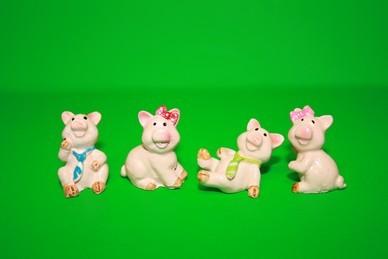 Glücksschweine, Polyresin - 4 Stück