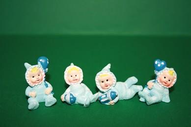 Baby-Puppen, Polyresin hellblau - Set 4 Stück