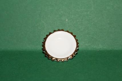 Mini-Porzellan-Teller weiß/Zackengoldrand, 1:12