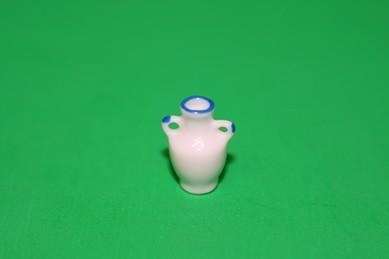 Vase mit 2 Griffen, weiß, blauer Rand