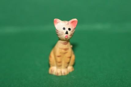 Katze 1 gelb, Porzellan