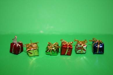 Mini-Weihnachtspäckchen in Glanzpapier - 6 Stück