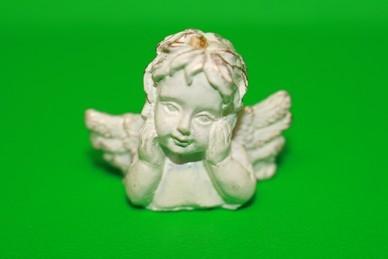 Engel-Büste, Hände am Gesicht, Polyresin