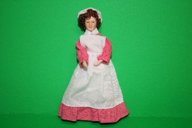 """Porzellan-Biegepuppe """"Haushälterin"""", Kleid rosa, Schürze weiß"""