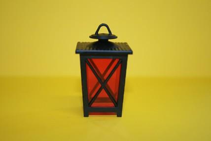 Laterne eckig, schwarz/rot, 1:12