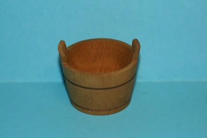 Holzkübel mit Griffen, gebeizt, 1:12