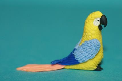 Papagei groß, gelb/blau/apricot