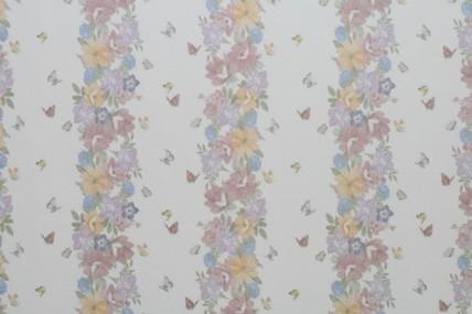 Tapete, Blumenstreifen senkrecht, weiß/bunt