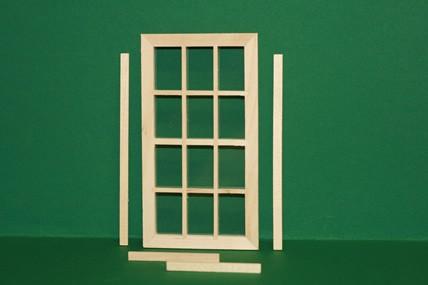 Doppelsprossen-Fenster fest, Holz roh, 1:12