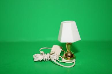Tischlampe, Messing/Kunststoff weiß, 12 Volt