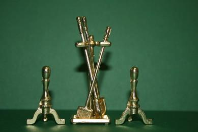 Kamingeschirr goldfarben, Metall, 1:12, jetzt ohne kleinen Ständer