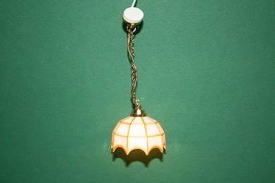 "Hängelampe ""Tiffany"", weiß/gold, 12 V."