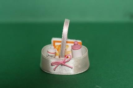 Babypflegetasche rosa, Satin, mit Inhalt, 1:12