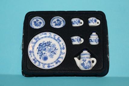 Porzellan-Service weiß-blau, 9-teilig, 1:12