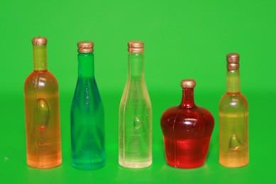 Flaschen gemischt Nr. 3, Kunststoff - 5 Stück