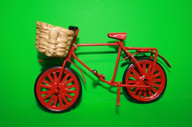 Fahrrad rot, Metall, mit Korb