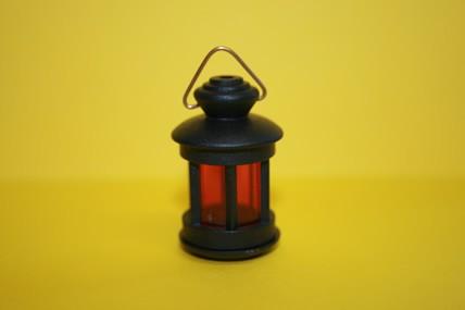 Laterne rund, schwarz/rot, 1:12