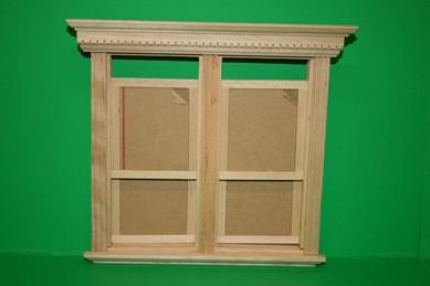 Vikt. Doppel-Schiebefenster m. Innenrahmen u. Plexiglas,Holz roh