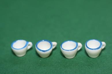 Kleine Tassen, mit blauem Rand, Porzellan - 4 Stück