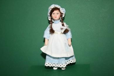 Mädchen, Kleid hellblau/weiß m. weißer Schürze