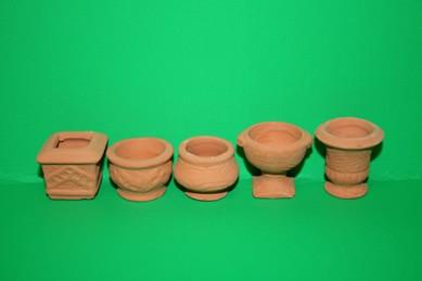 Set Terracotta-Gartenvasen, 5 Stück