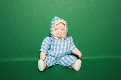 Baby, Strampler blau/weiß, Porzellan, beweglich