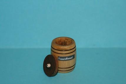 Sauerkraut-Fass Holz mit Deckel und Holzgabel, 1:12