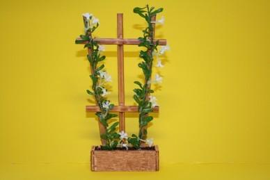 Spalier mit Pflanzentrog - Blüten weiß